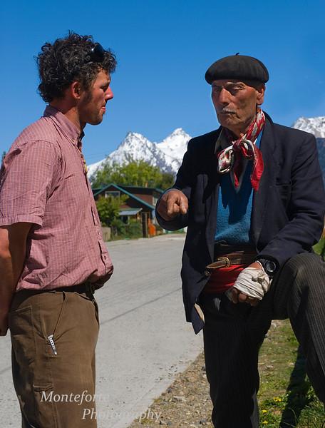 Gaucho telling Jonathan a story about Cerro Castillo Villa, Chile