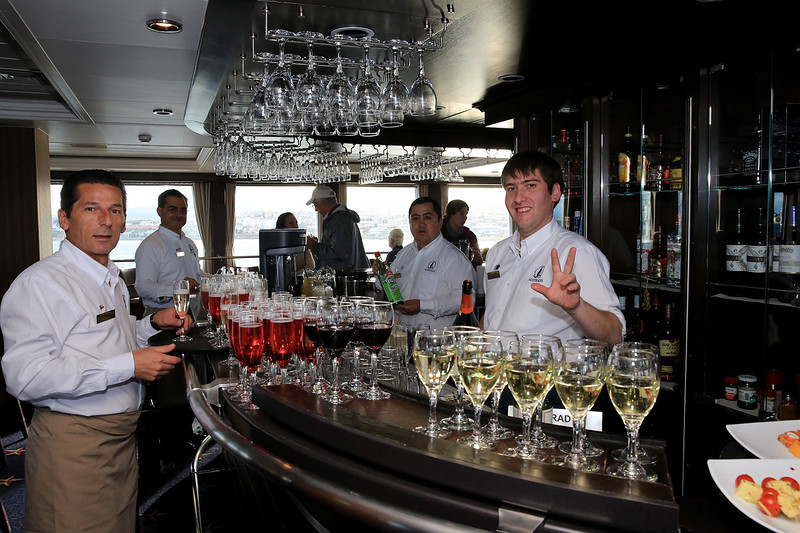 The drinks are on the house aboard the Stella Australis.