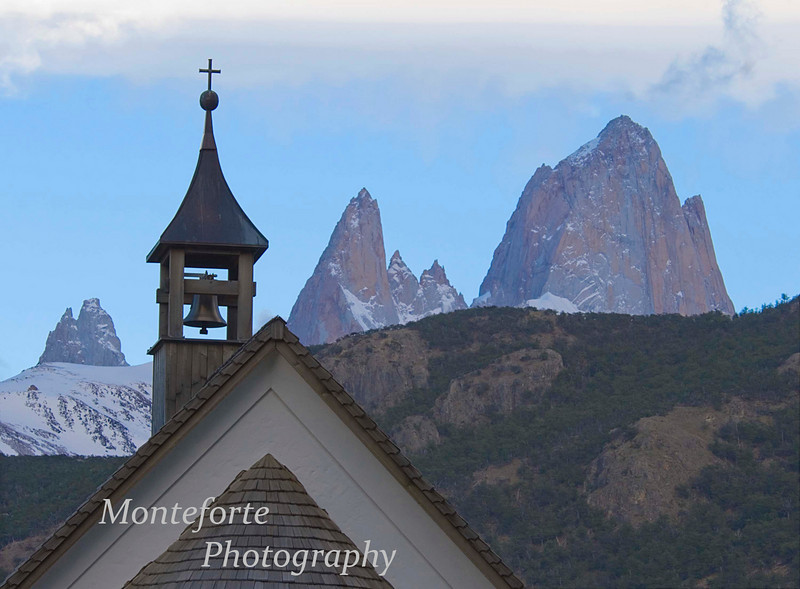 Church in El Chalten, (Built by Norwegians for one of their Alpinists that died on Fitz Roy) Argentina with Fitz Roy in background.