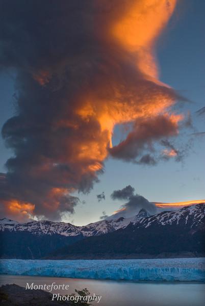 Sunset over Lago Colonia and Glacier Colonia on the Aysen Glacier Trail, Patagonia Chile