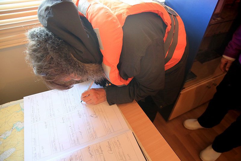 "As we sign the register list witnessed by the Chilean Navy Officer and his wife as they welcome us to their home on Cape Horn ""the end of the world""."