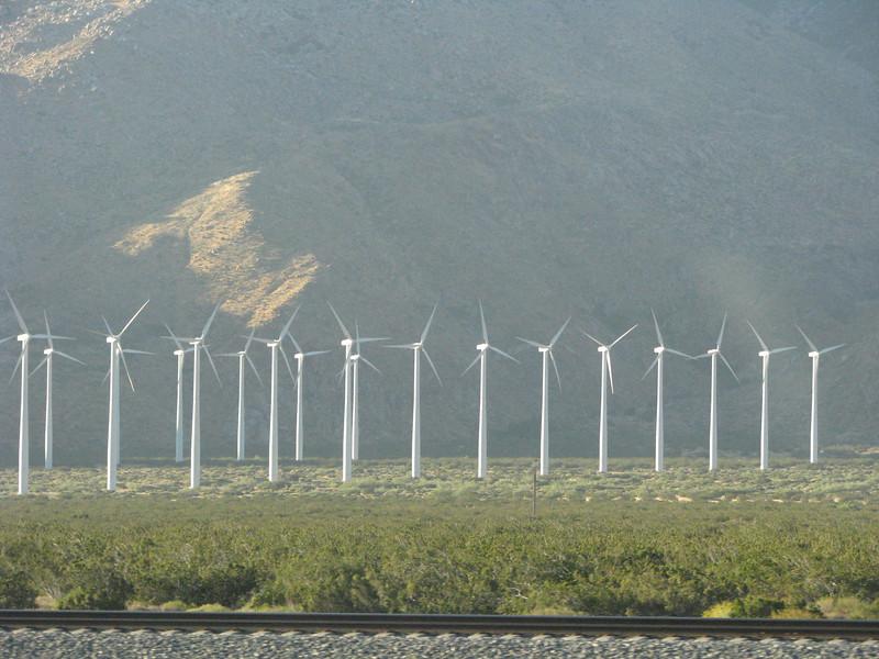 Wind generators churning away.