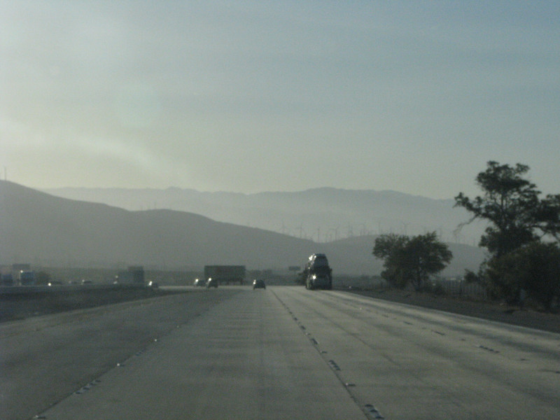 We're in the Cabazon area, the morning hazy is still hanging around even with the wind blowing.