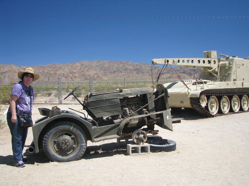 In the background is a tank hauler that they are restoring.