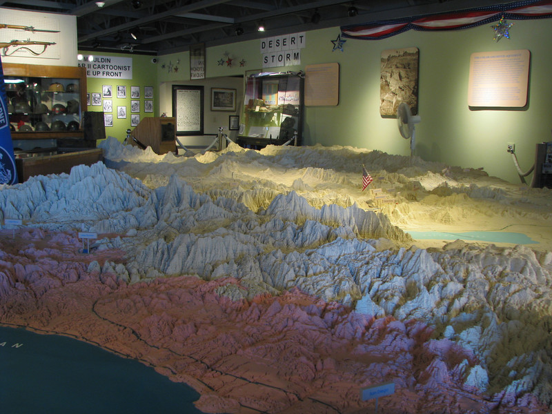 Physical relief map is in the main room of the local region.