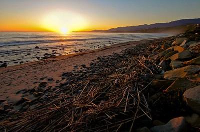 Sunset on the beach near Carpinteria, CA.