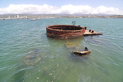Part of the remains of the U.S.S. Arizona. Photo taken from the U.S.S. Arizona memorial.