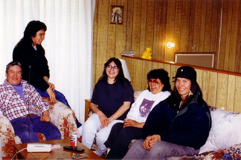 Picture in motel operated by Moses (seated at left) and Maggie Gull (seated in centre of couch). Also shown is Stella Linklater (seated at left end of couch).