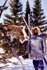 Paul Lantz in front of a polar bear pelt.