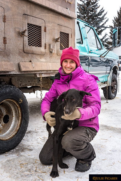 Rachel Courtney from Manitoba, Canada with her lead dog.