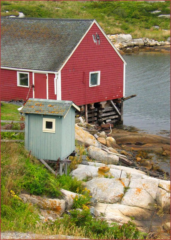 Outhouse and Home, Peggy's Cove, Nova Scotia