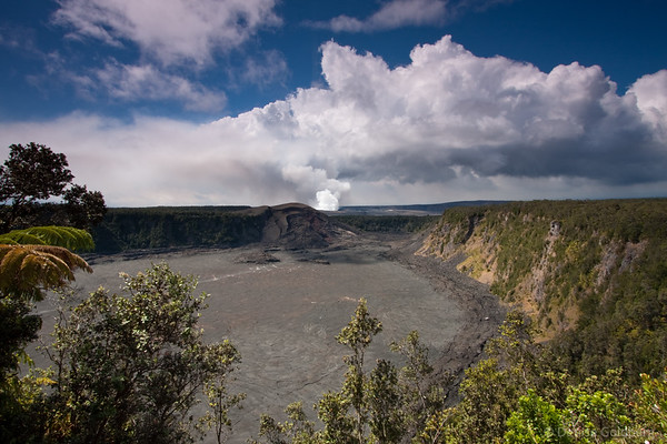 rising plume from Halema'uma'a crater in hawaii volcanoes national park