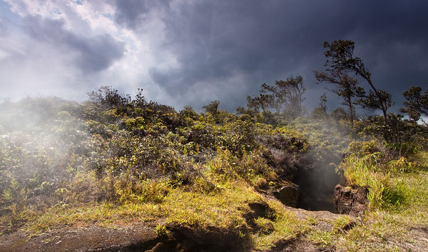 smoke, patterned clouds, rising steam, hawaii volcanoes national park