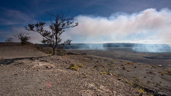 white plume rising, hawaii volcanoes national park