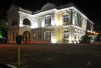 "Night shot of the Town Hall Building. Penang (pronounced /pəˈnæŋ/; (Malay: Pulau Pinang)) is a state in Malaysia which is located on the north-west coast of Peninsular Malaysia by the Strait of Malacca. The name ""Penang"" comes from the modern Malay name Pulau Pinang, which means island of the betel nut tree. It is the second smallest state in Malaysia. Penang is often known as ""The Pearl of the Orient"" and ""Pulau Pinang Pulau Mutiara"" (Penang Island of Pearls)."