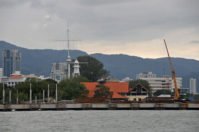 Penang Shoreline. Arriving in Penang by ferry from Langkawi, Malaysia one can start to see the George Town skyline.