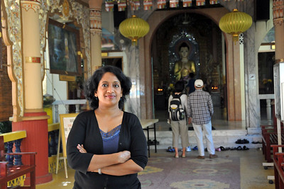 Anu (Arundhathi) at the Tapak Sejarah, a buddhist burmese temple. It has been identified as one of the fifteen historical sites. George Town, Penang, Malaysia.