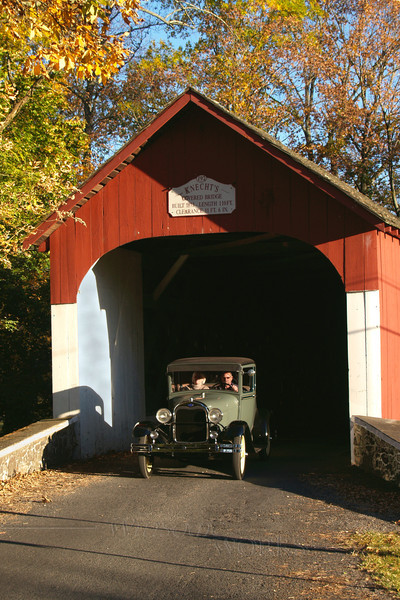 Old Model A Ford going through Knecht's Bridge - Springtown, PA
