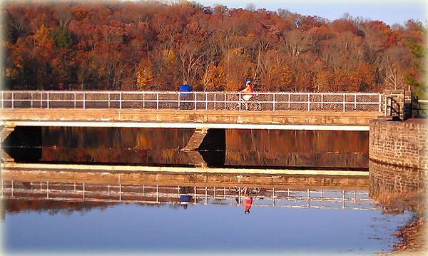 Crossing the bridge, Green Lane Reservoir