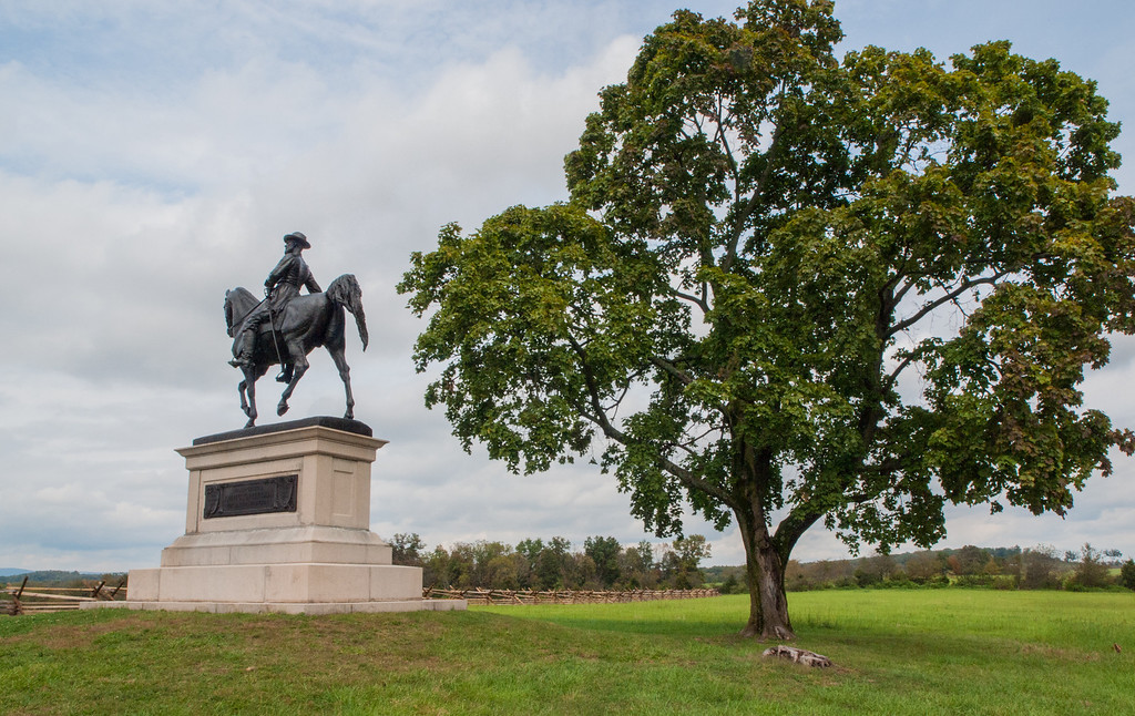 The equestrian monument to Major General Winfield Hancock is southeast of Gettysburg on Cemetery Hill. (39.82132° N, 77.228877° W; map) It was dedicated in 1896 by the Commonwealth of Pennsylvania.<br /> <br /> Major-General Winfield Scott Hancock, United States Army<br /> Born - February-14-1824; Died - February-9-1886