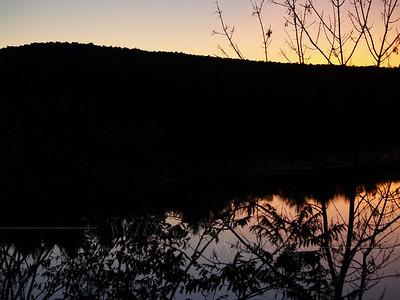 Haycock Mountain silhouetted in Lake Nockamixon