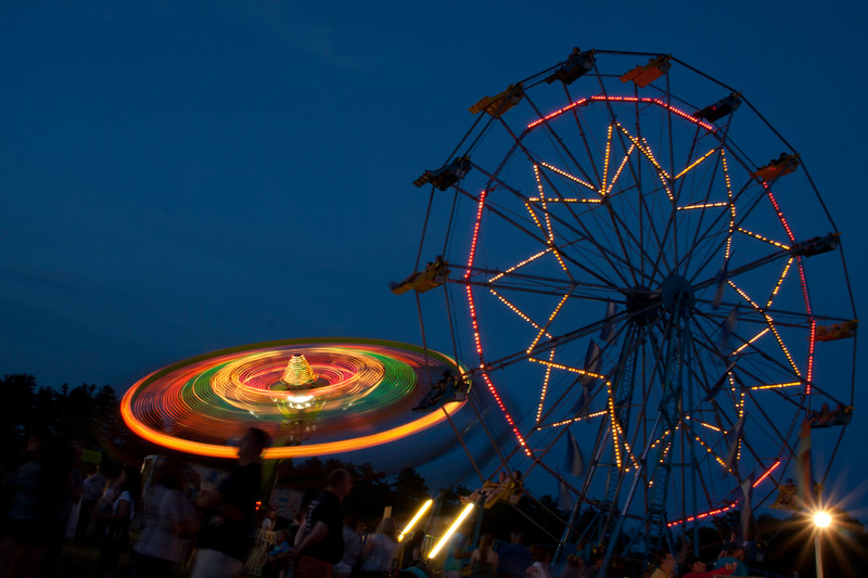 Carnival Rides at Dusk, June Fete, Huntingdon Valley, Montco, PA 2012