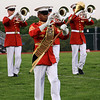 The Marine Corp band performs on Upper Moreland's football field.