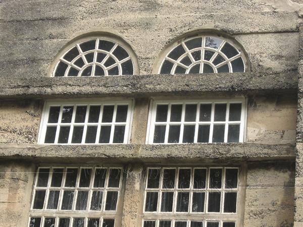 Arched windows at Moravian Tile Works