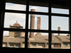 One wing of Moravian Tile Works seen through the window of another wing