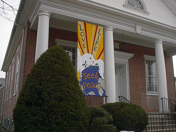 """""""Love Life, Seek Peace"""" banner made by Mary Lou Cummings & me, 2003. The banner was made in response to the U.S. invasion of Iraq, after the Philadelphia Peace March."""