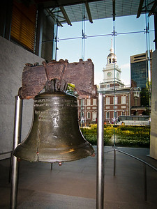 Liberty Bell and Tower in Independence Hall where it Once Hung