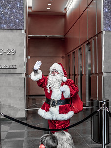 Santa at the Comcast Center in Philadelphia at Christmastime.