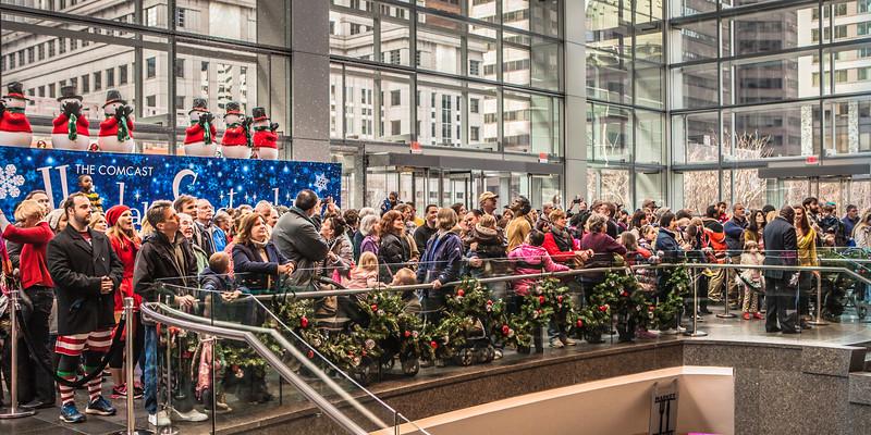 Spectators at the Comcast Center Light Show