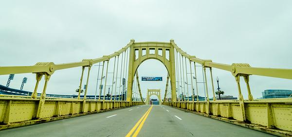 Big empty bridge in downtown Pittsburgh Pennsylvania.