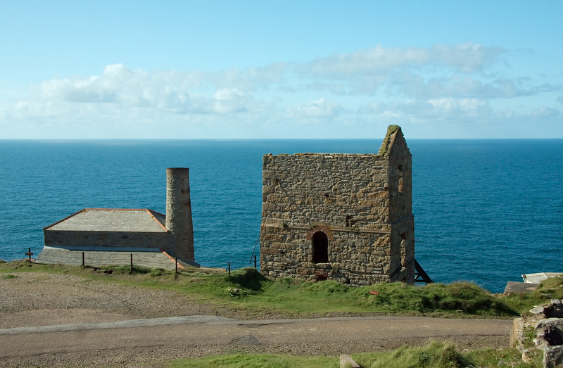 Mine shaft and working houses beside the sea cliffs at Levant