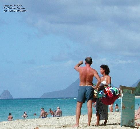 Swimsuit vendor Saline Beach Martinique