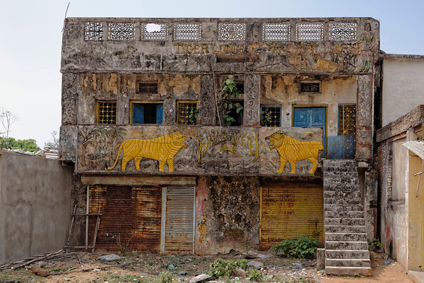 Tiger Lodge, one of the first lodges catering to tourists in Tala, now obviously disused.
