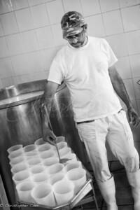 Pouring Fresh Ricotta