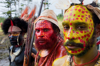 The Pimaga tribe uses three different colors to designate their place in the tribe with yellow being the lowest level, on to red and then black at the highest