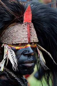 One of the chiefs of the Pimaga tribe in black