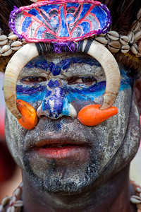 Closeup of tribal chief of Sepik River region at Crocodile Festival