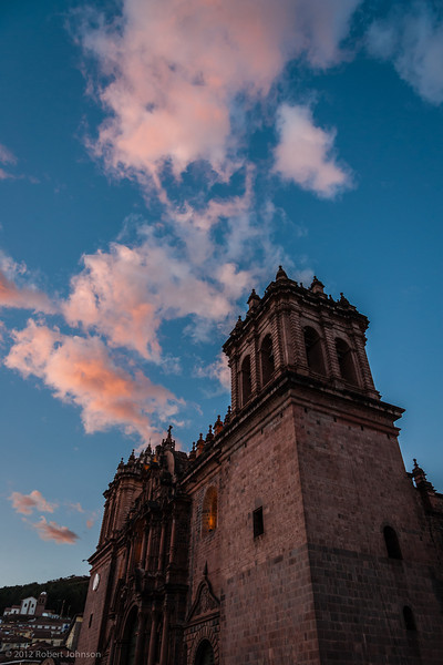 Cathedral of Santo Domingo, Plaza de Armas, Cusco, Perú<br /> The cathedral's construction began in 1559 on the foundations of the Incan temple Kiswarkancha. The location of Viracocha's palace was chosen for the purpose of removing the Inca religion from Cusco, and replacing it with Spanish Catholic Christianity. Most of the stones from the building were taken from Saqsaywaman. Cunstruction was completed 95 years later in 1654.