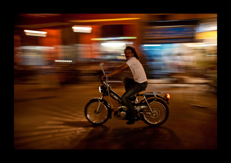 Yanni, spotted on a moped at the Djemaa El Fna, Marrakech