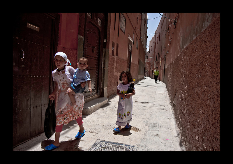 walking back to our Riad in Marrakech.