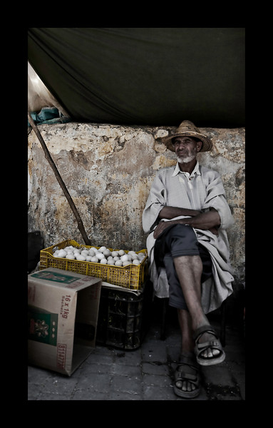 Man Selling Eggs - Fez Medina, shot from the hip