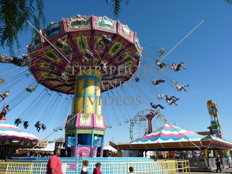 A wave swinger ride at the Southern California Fair in Perris, California.