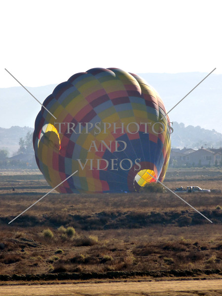 Hot Air Balloon deflates on the field in Perris, California.