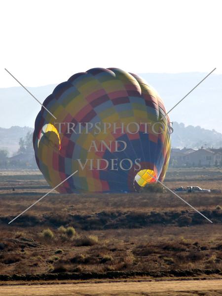 Hot Air Balloon deflates on the field in Perris, California.