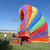 Hot Air Balloon deflates after landing on the field in Perris, California.