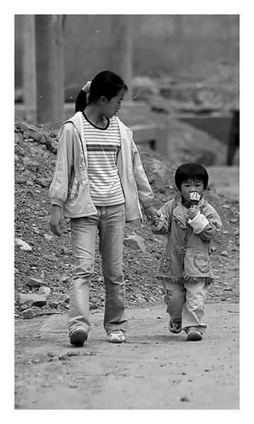 A simple caring glance - near Beijing, China.